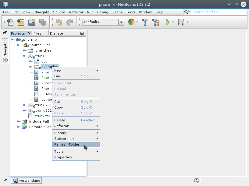 Netbeans IDE 8.2 right click menu 'Refresh Folder'