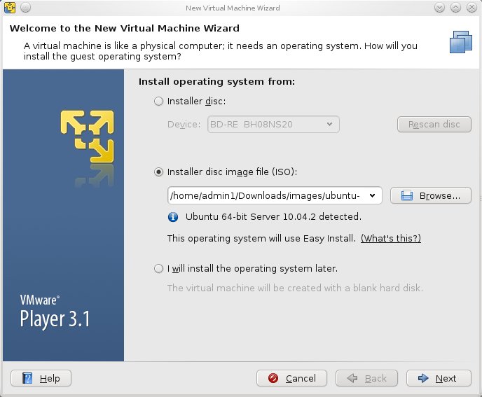 vmware player create a new virtual machine